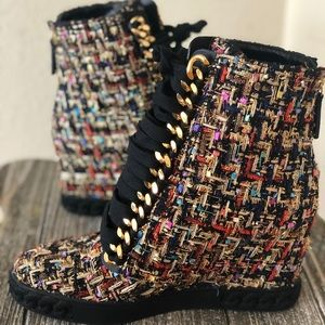 Rainbow Gold Party Wedge Boots